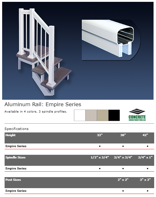 Aluminum Rail Spindle Empire Series Installation Services