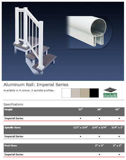 Aluminum Rail Spindle Imperial Series Installation Services