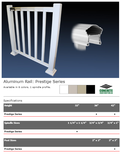 Aluminum Rail Spindle Prestige Series Installation Services