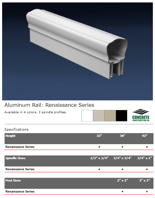 Aluminum Rail Spindle Renaissance Series Installation Services
